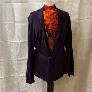 Deep purple cardigan with front belt tie